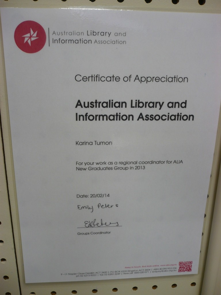 ALIA NGG Certificate of Appreciation 2013