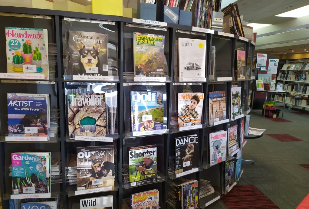Magazine display in a library