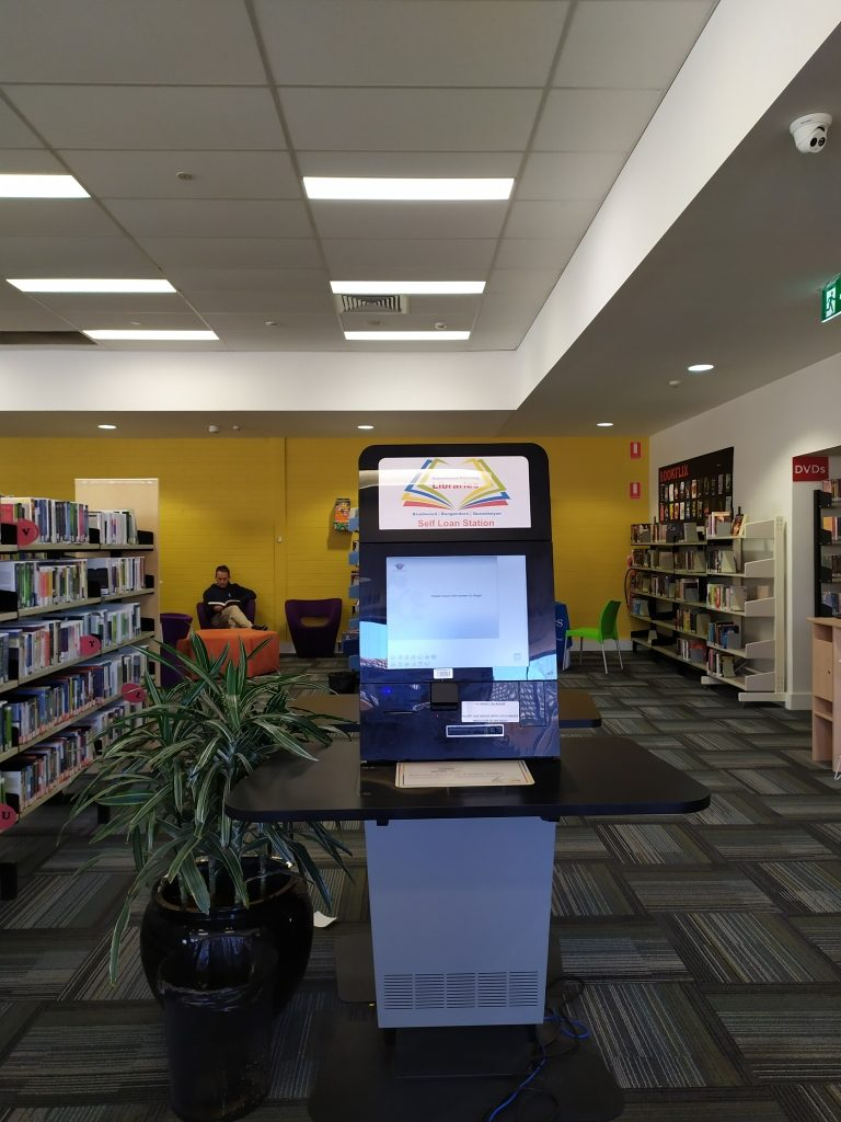 self-check kiosk at Queanbeyan Library